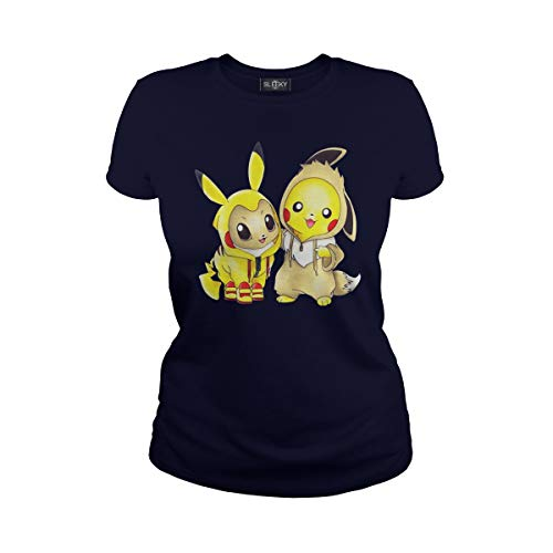 Sleeky Women's Pikachu and Eevee Ladies T-Shirt (M, Navy) ()