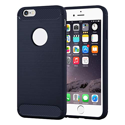 Cadorabo - TPU Ultra Slim Silicone Cover Works with Apple iPhone 6 Plus in Carbon and Brushed Stainless Steel Design Combination - Case Protection Bumper Skin in Brushed-Blue