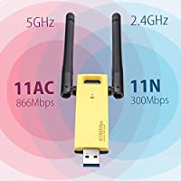 RTL8812AU USB 3.0 WLAN Adapter 1200Mbps 2.4GHz/5GHz 802.11a/b/g/n/ac WiFi USB Adapter for Windows XP/Vista/7/8/8.1/10 (32/64bits) MAC OS