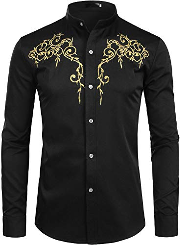 ZEROYAA Mens Hipster Design Golden Floral Embroidery Slim Fit Long Sleeve Mandarin Collar Shirts Tops ZZCL08 Black Small