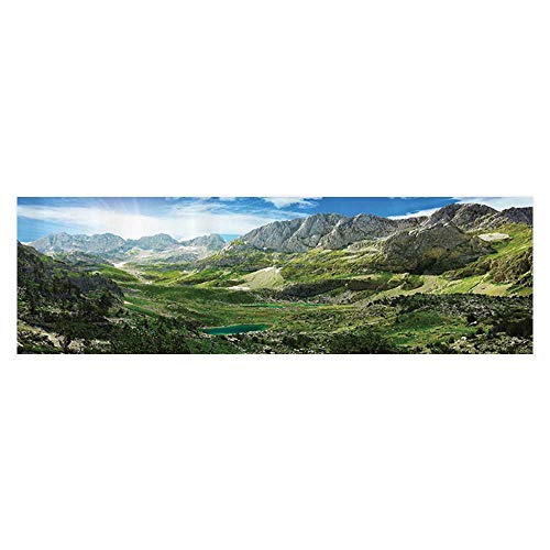 UHOO2018 Background Fish Tank Decorations Mountain Lakes in Albanian Alps Nature Reserves Touristic Lakeside PVC Paper Cling Decals Sticker 29.5