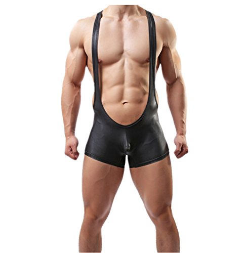 Tirain Men Sexy Wrestling Singlet Faux Leather Underwear Lingerie Bodysuit Pant (X-large, Black)