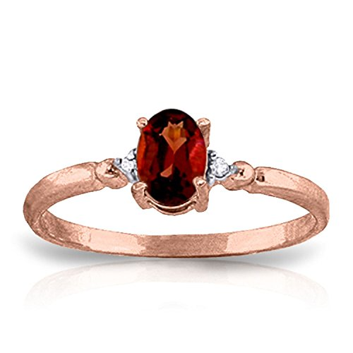ALARRI 0.46 Carat 14K Solid Rose Gold Young Love Garnet Diamond Ring With Ring Size 8.5 by ALARRI