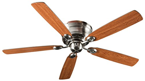 Hyperikon 52 Inch Ceiling Fan, with Remote, Classical Style, Brushed Nickel, 5 Reversible Blades No Light Fixture