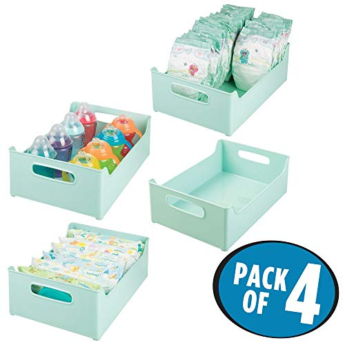 mDesign Stackable Plastic Storage Organizer Containers with Handles for Kitchen Countertop, Cabinet, Pantry, Refrigerator - BPA Free - for Kids Snacks/Food - 10