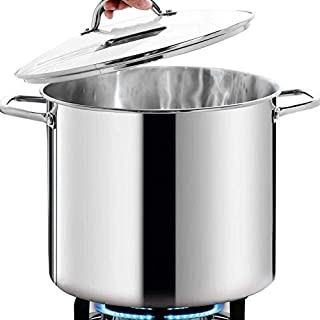 HOMICHEF Commercial Grade LARGE STOCK POT 20 Quart With Lid - Nickel Free Stainless Steel Cookware Stockpot 20 Quart - Healthy Cookware Polished Stockpots - Heavy Duty Induction Pot Soup Pot With Lid
