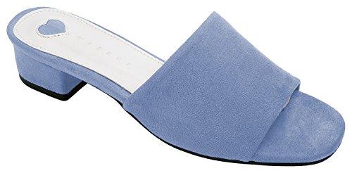 Annakastle Kvinners Farget Stabeis Tøffel Hæl Sandal Imitasjon Av Semsket -  Kornblomst-blå