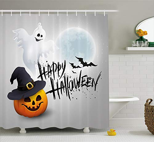 Ambesonne Halloween Shower Curtain, Happy Celebration Typography Stained Look Cute Ghost Pumpkin Hat Print, Fabric Bathroom Decor Set with Hooks, 75 Inches Long, White Black Orange