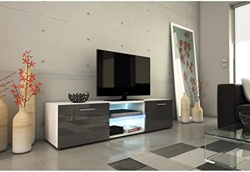 Kora meuble tv 150cm avec éclairage led - gris brillant ...