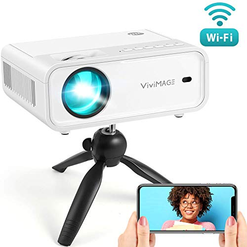 VIVIMAGE Explore 2 Mini WiFi Projector, 4000 Lux HD 1080P Supported Projector for iOS/Android Devices Compatible with TV Stick, HDMI, TV Box, PS4, with Synchronize Smartphone Screen and Tripod