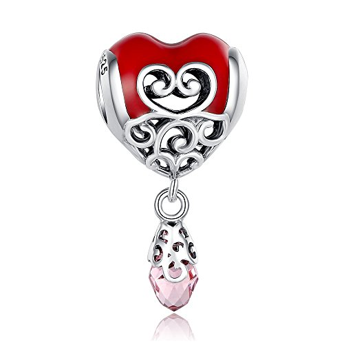 Glamulet Art Women's 925 Sterling Silver Red Enamel Openwork Heart Dangle Charm Fits Pandora Bracelet