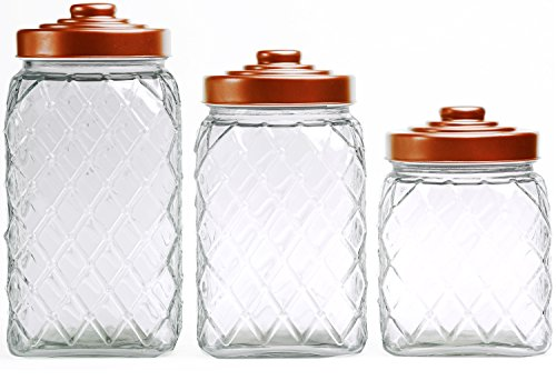 Circleware Copper Set of 3 Embossed Glass Canisters with Copper Lids - 81 oz, 108 oz, 130 oz.
