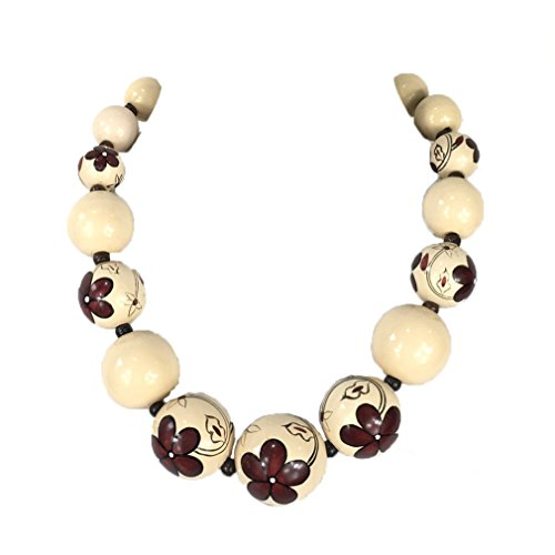 Zad Jewelry Floral Painted Large Wood Bead Necklace ()