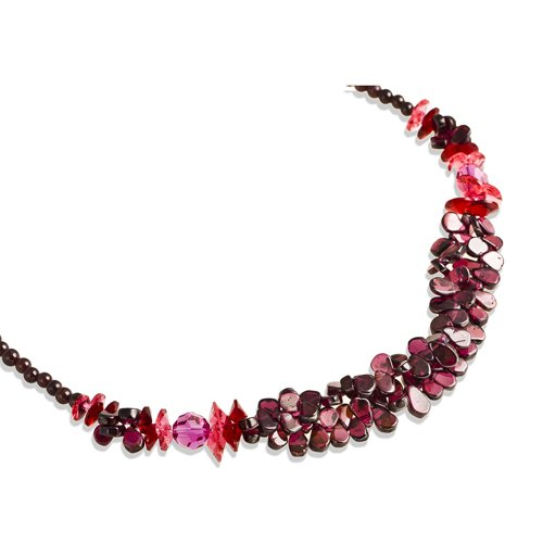 Czech Beaded Necklace (Swarovski Amethyst Crystals Necklace, Classic Vintage Style, Precious Neckwear of the Highest Standard - Red, Janeo Jewellery)