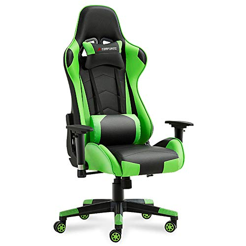 JL Comfurni Gaming Chair Racing Style Ergonomic Swivel Computer Office Chairs Adjustable Height Reclining High-Back with Lumbar Cushion Headrest Leather Chair – Green
