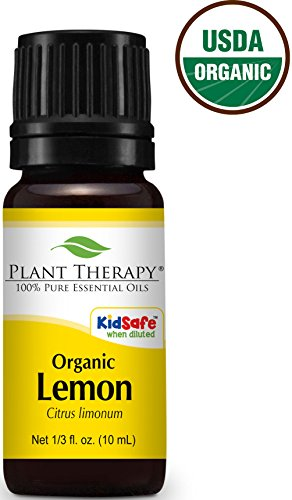 Plant Therapy USDA Certified Organic Lemon Essential Oil. 100% Pure, Undiluted, Therapeutic Grade. 10 ml (1/3 oz).