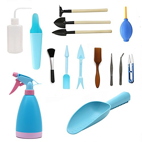 (LepoHome 15 Pieces Succulent Transplanting Mini Garden Hand Tool Set for Indoor Gardening Plant Care - Blue )