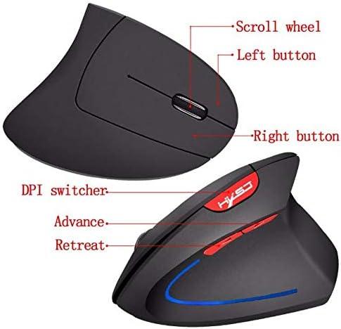 HXSJ Wireless Mouse Vertical Optical Mouse Ergonomic Gaming Mouse Computer PC Computer Therapy Mouse Desktop Computer Desktop