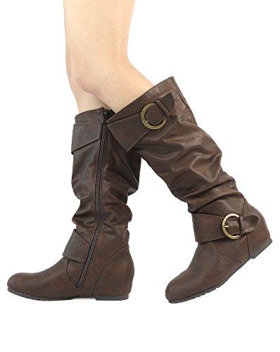Women's Calf Wide Wedge brown Hidden Low High Knee Boots PAIRS wide Ura DREAM calf pn45qwBg