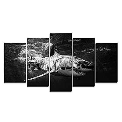 Faicai Art 5 Piece Wall Art Canvas Prints Black and White Large Animal Wall Poster Artwork Pictures for Home Office Wall Decorations Framed Ready to Hang