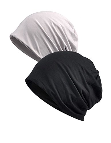Luccy K Unisex Comfy Cotton Beanies Soft Sleep Cap for Hairloss Cancer Chemo White Black 2 Pack (White Cotton Skull Cap)