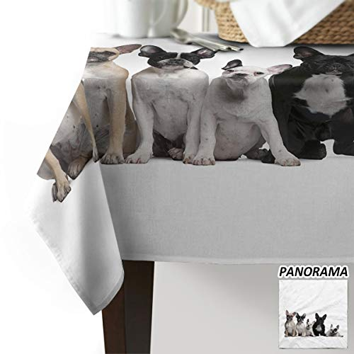 Luck Sky Table Cloths, French Bulldog Cotton Linen Table Cloths for Kitchen, Modern Decorative Dining Table Cover -Printed Fabric Outdoor Patio Table Cover - Rectangle Table C 60 x 104(153 x 265cm)