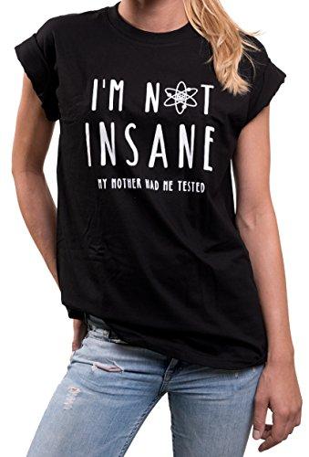 Oversized Sheldon T-Shirt I'M NOT INSANE Big Bang Theory Womens Plus Size Top Black Short Sleeve US 12-14 = L