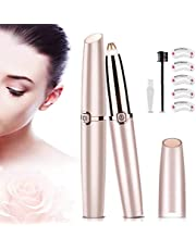 AMORIX Portable Eyebrow Razor Precision Eyebrow Trimmer Lightweight Painless Eyebrow Epilator Hair Removal for Women, with Eyebrow Comb and Brush + Eyebrow Stencil (Rose Gold)