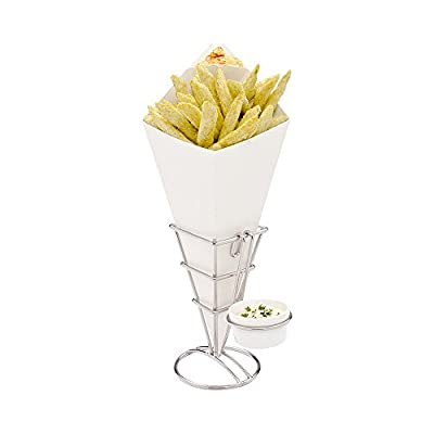 Conetek 10-Inch Eco-Friendly Black Finger Food Cones with Built-in Condiment Dipping Pocket: Perfect for Appetizers – Food-Safe Paper Cone – Disposable and Recyclable – 100-CT