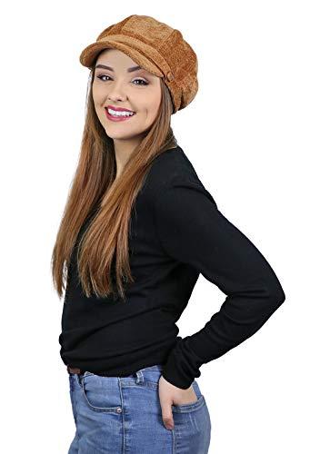 Newsboy Cap for Women Cancer Headwear Chemo Hat Ladies Head Coverings Tweed Corduroy (Mustard)
