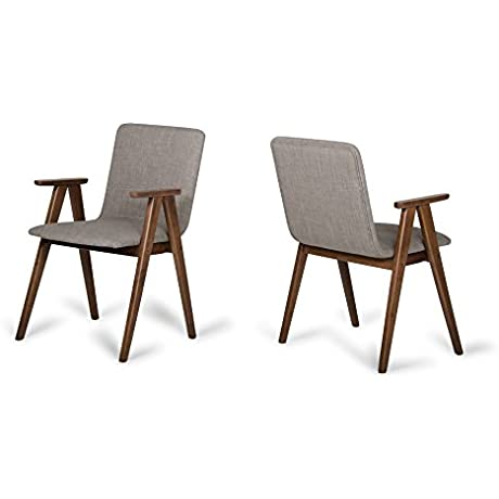 Limari Home LIM 72441 Damon Collection Modern Kitchen And Dining Room Contemporary Dining Chair With Walnut Finish Set Of 2 Sesame