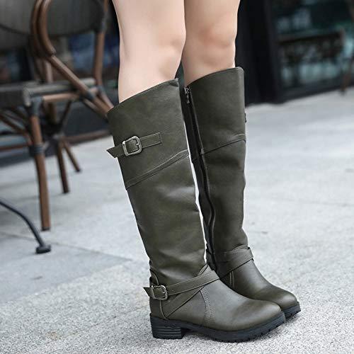 Frauen Herbst Große Größe Und LIANGXIE Army Europäischen Stiefel Stiefel Martin green Hohe Amerikanischen Winter 2018 Und Stiefel Rwvdq1g