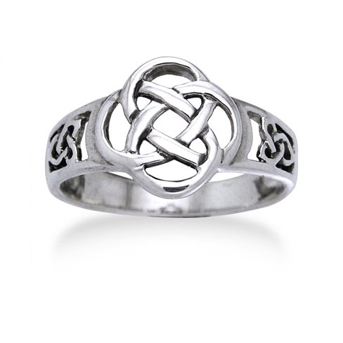 Celtic Triquetra Trinity and Flower Knot Eternity Sterling Silver Ring Size 7(Sizes - Celtic Trinity Ring