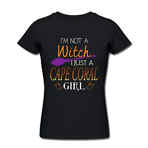 Halloween Shirts For Cape Coral Girl - I Am Not a Witch I Just a Cape Coral Girl - Womens T Shirts Large Black