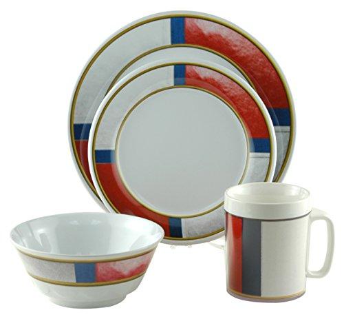 Galleyware Life Preserver 24 Piece Melamine Non-Skid Dinnerware (Nautical Plastic Plates)