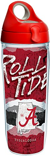 Bottle Alabama Insulated (Tervis 1251118 Alabama Crimson Tide College Statement Insulated Tumbler with Wrap and Red with Gray Lid, 24Oz Water Bottle, Clear)