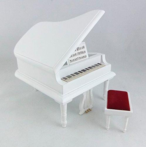 Amazon.es: Miniatura Para Casa De Muñecas 1:12 Music Habitación Muebles Blanco Piano De Cola & Banco Taburete: Juguetes y juegos
