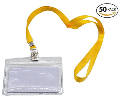 Shenglong New 50 Pcs Waterproof Type Clear Plastic Horizontal Name Tag Badge Id Card +50 Pcs Yellow Lanyard
