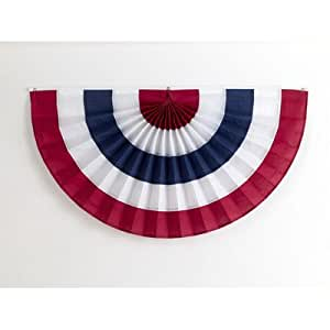 "Pleated Fan Flag Size: 18"" x 36"", Color: 5 Stripe - Red, White, Blue, Material: Cotton"