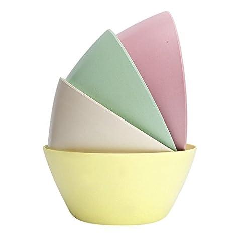 StorageWorks Bamboo Fiber Salad Bowls, Colorful Serving Dinner Bowl Set, Pink / Light Green / Creamy / Light Yellow, Medium, - Light Green Bowl