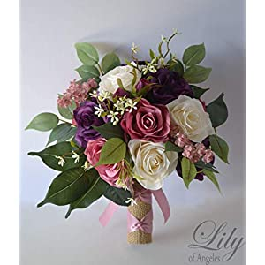Wedding Bouquet, Bridal Bouquet, Bridesmaid Bouquet, Silk Flower Bouquet, Wedding Flower, Mauve, lilac, dusty pink, pink, eggplant, lavender, wisteria, purple, plum, ivory, beige, Lily of Angeles 13