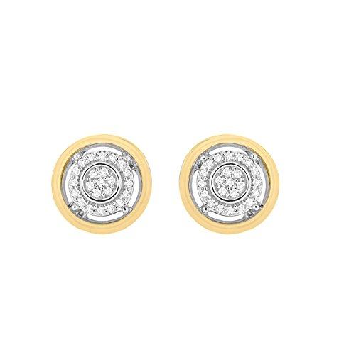 Pave Prive femme  9carats (375/1000)  Or bicolore|#Gold Rond   Transparent Diamant
