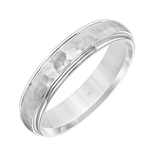 - Brilliant Expressions .925 Sterling Silver Hammered Finish Domed Wedding Band with Polished Stepped Edges, 5mm, Size 9