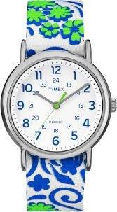 (Timex Originals TW2P90300 Ladies Weekender Slip-thru Full Size Green Nylon Strap Watch)