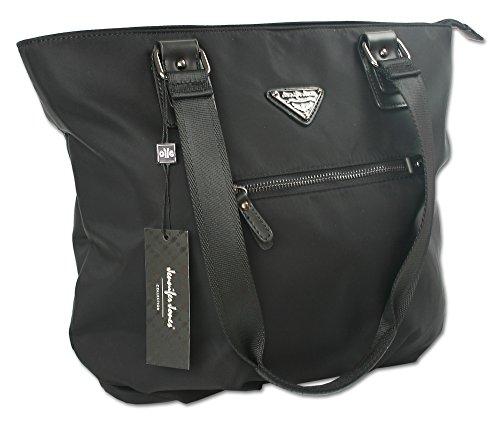 Jennifer Jones Taschen Damen Schultertasche Umhängetasche Shopper aus Nylon für Shopping oder Büro ! Handtasche Tasche groß XL in Trapezform schwarz (2346)