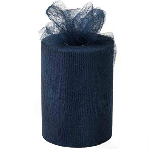 BalsaCircle 6-Inch x 300 feet Navy Blue Net Tulle Fabric Ribbon by The Roll - Wedding Party Favors Decorations DIY Crafts Sewing