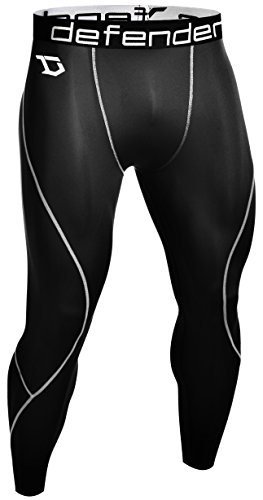 Defender Mens Compression Tights Pants Workout Clothes Sports Basketball BW_L