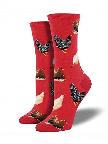 """Socksmith Womens' Novelty Crew Socks """"Hen House"""" - Red"""