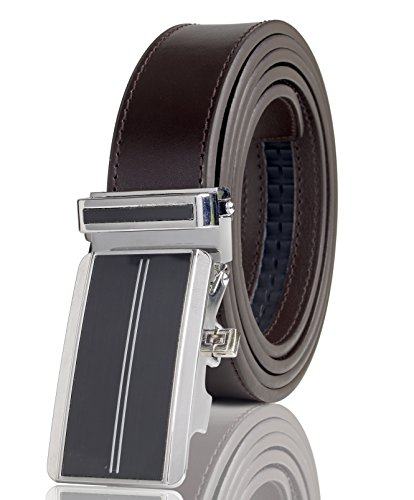 Cremson Men Gift Genuine Leather Metal Automatic Buckle Track Ratchet Dress Belt - Simple Black Automatic Buckle/Brown Leather