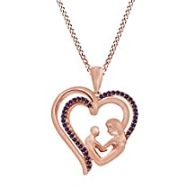 10K Solid Gold Amethyst Mother Child Heart Pendant Necklace